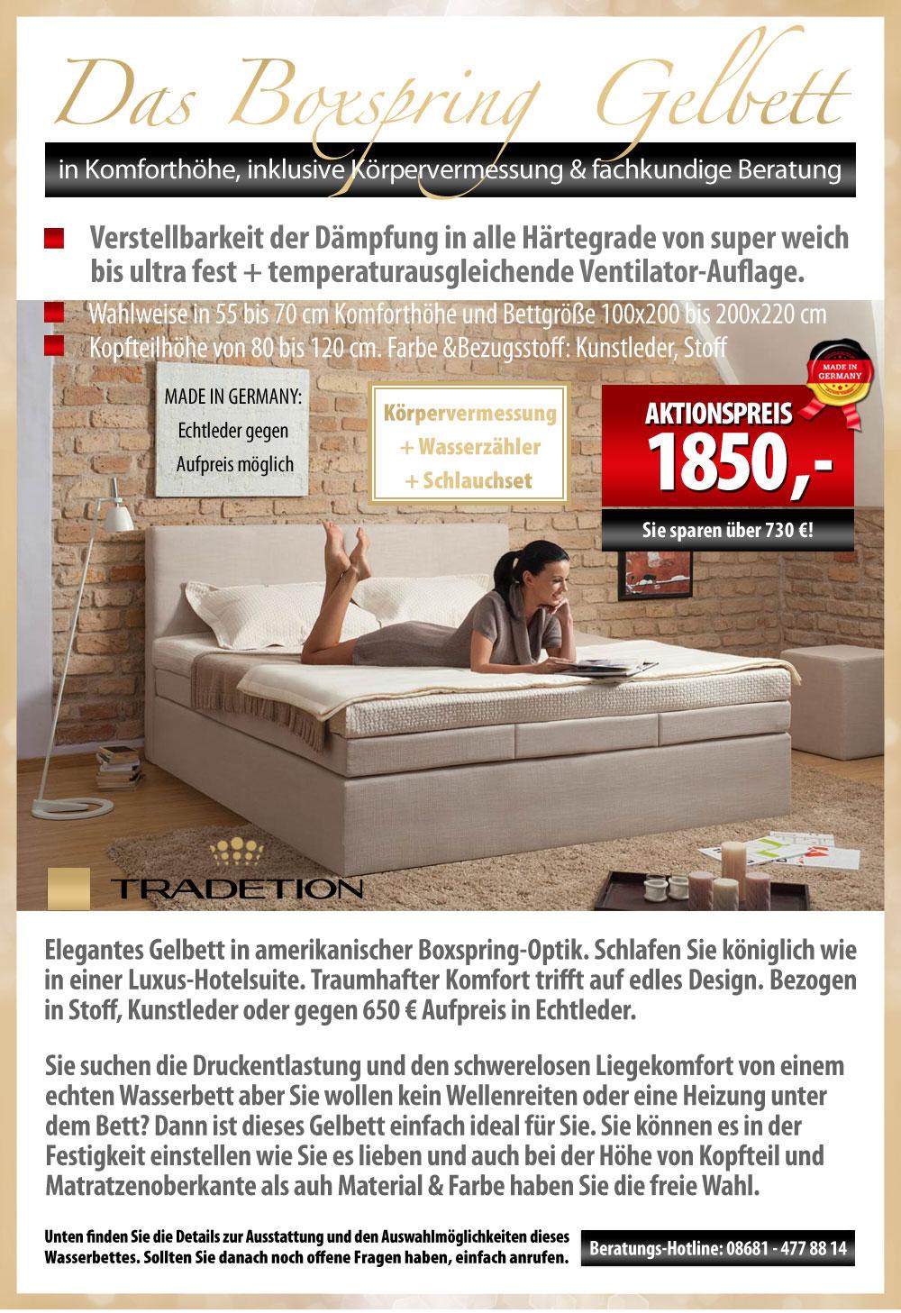 aktion edles gelbett im boxspringbett stil mit. Black Bedroom Furniture Sets. Home Design Ideas